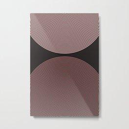Eternal Flow - Minimal Abstract Geometry Charcoal Brown Metal Print