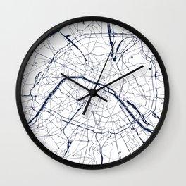 Paris France Minimal Street Map - Navy Blue and White Wall Clock
