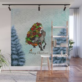 Christmas, funny horse with christmas hat Wall Mural