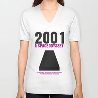 2001 a space odyssey V-neck T-shirts featuring 2001: A Space Odyssey Movie Poster by FunnyFaceArt