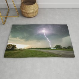 Close Call - Lightning Strike in Kansas Storm Rug