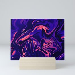 Abstract Marble Colorful Pattern Neon Coral Living Ultra Violet Blue Colors Mini Art Print