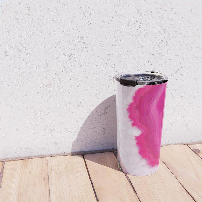 Pink Agate Slice Travel Mug