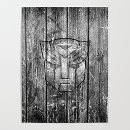 Autobot Monochrome Wood Texture Poster