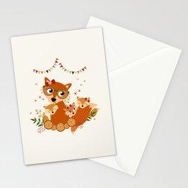 Maman renard et ses enfants Stationery Cards
