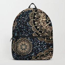 Black and White Sparkles & Rose Gold Mandala Textile Backpack