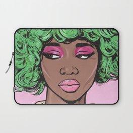 Green Kawaii Black Comic Girl Laptop Sleeve