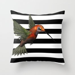 Colorful Hummingbird & Horizontal Stripes Throw Pillow