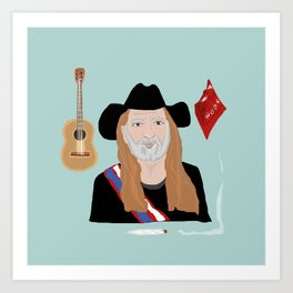 Willie Nelson & His Things Art Print