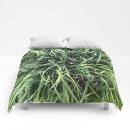 Trendy Grass Pattern  in Vivid Shades of Green Comforters