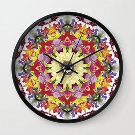 Abundantly colorful orchid mandala 1 Wall Clock
