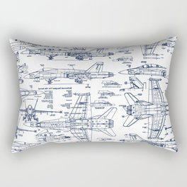 F-18 Blueprints // Blue Ink Rectangular Pillow