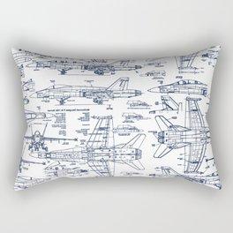 F-18 Blueprints // Blue Ink Rectangular Pillow