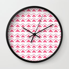 Hand painted pink watercolor aztec geometrical pattern Wall Clock