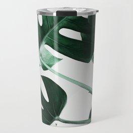 Monstera, Leaves, Plant, Green, Scandinavian, Minimal, Modern, Wall art Travel Mug