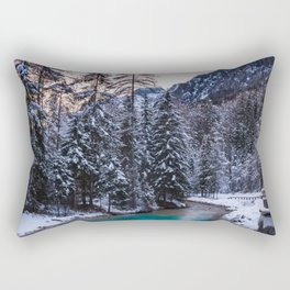 Magical sunset with turquoise river in Mojstrana, Slovenia Rectangular Pillow