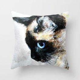 Siamese Cat Acrylic Painting Throw Pillow