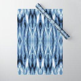 Blue Satin Shibori Argyle Wrapping Paper