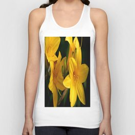 Yellow Lilies On A Black Background #decor #buyart #society6 Unisex Tank Top