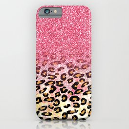 Cute girly trendy bubble gum pink faux glitter leopard animal print pattern iPhone Case