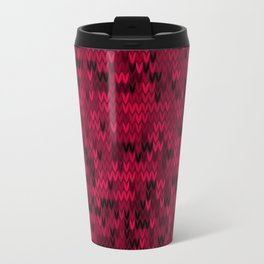 Red knitted textiles Travel Mug