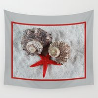 seashell Wall Tapestries featuring Seashell and Red Star by Linda Tomei