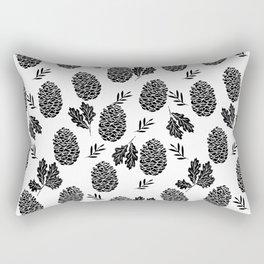 Linocut Pinecones fall autumn nature black and white minimalist botanical gifts Rectangular Pillow