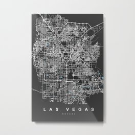 Las Vegas Map Nevada | Black & Blue | More Colors, Review My Collections Metal Print