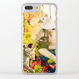 Sun hat lady 2 Clear iPhone Case