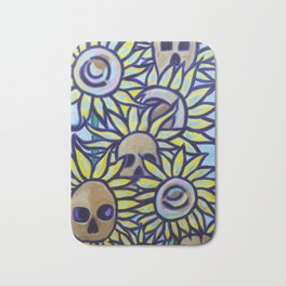 S is for Sunflowers and Skulls Bath Mat