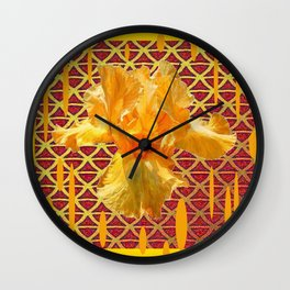MODERN ART OF YELLOW SPRING IRIS GARDEN PATTERNS Wall Clock