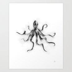 King Octopus Art Print