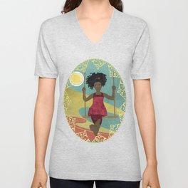 Barefoot Girl on Swing Unisex V-Neck