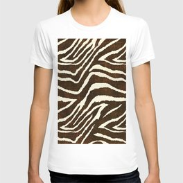 ANIMAL PRINT ZEBRA IN WINTER 2 BROWN AND BEIGE T-shirt