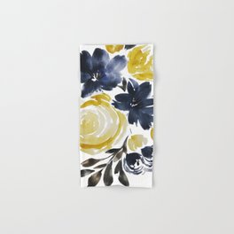 Navy and Yellow Loose Watercolor Floral Bouquet Hand & Bath Towel