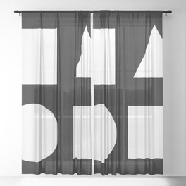 Minimal Shapes White Sheer Curtain