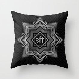 Silver Star of Lakshmi - Ashthalakshmi  and Sri Throw Pillow