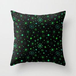 Atomic Starry Night in Neon Green Glow + Black Throw Pillow
