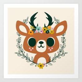 Deer with Flowers / Cute Animal Art Print