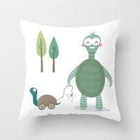 tortoise Throw Pillows featuring Tortoise by Esther Ilustra