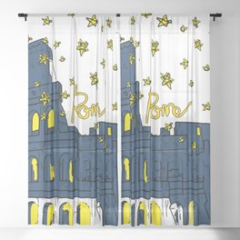 Rome Italy Colosseum Starry night Sheer Curtain
