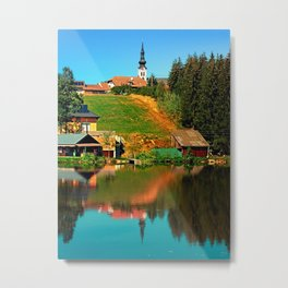 A village in the mirror Metal Print