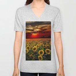 Sunflowers and Sunflower fields at sunset - Scituate, Rhode Island - Jeanpaul Ferro Unisex V-Neck