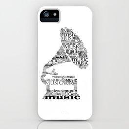 Typographic gramophone iPhone Case