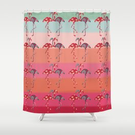 Ombre Pink Flamingos  Shower Curtain