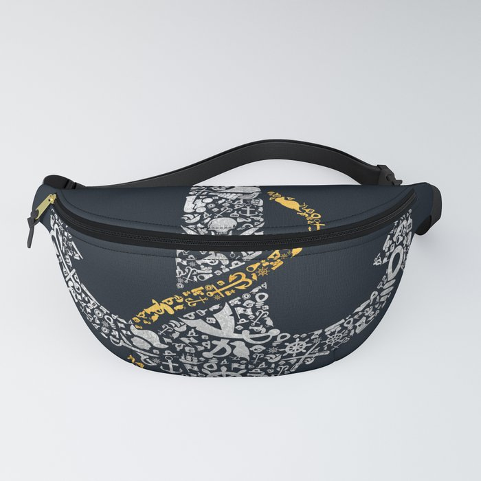 Anchor in Gold and Silver Fanny Pack