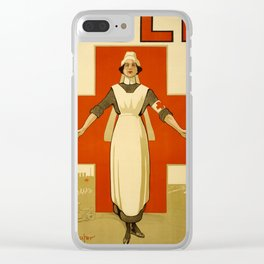 Vintage poster - Red Cross Clear iPhone Case
