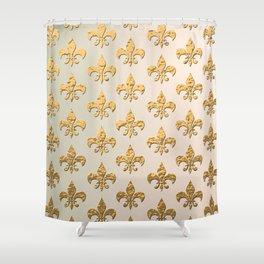 Gold Metallic Fleur De Lis Stencils Shower Curtain