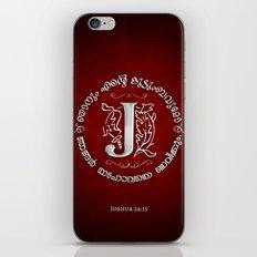 Joshua 24:15 - (Silver on Red) Monogram J iPhone & iPod Skin