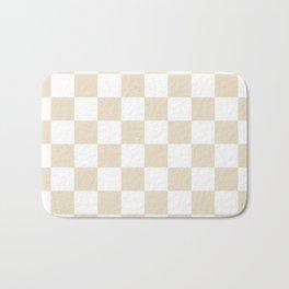Brown, Beige: Checkered Pattern Bath Mat